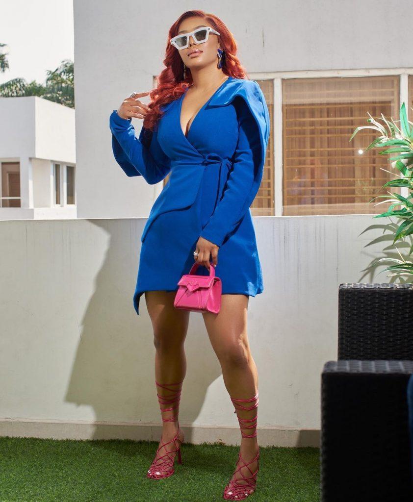 Toke Makinwa Bossy lady blue dress