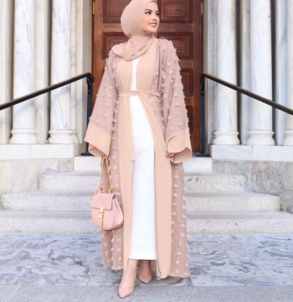 layered abaya with open