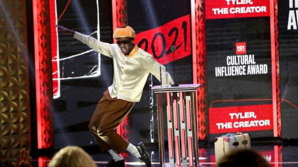 Tyler the Creator accepts the Rock The Bells Cultural Influence Award 2021 billboard 1548 1633469629 compressed 904x598 1